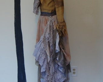 Gypsy Steampunk pirate Victorian peasant vest skirt top tattered and hand dyed