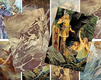 Vintage mermaids images for cards, ACEO, ATC, scrapbook and more Digital Collage Sheet 3 X 2 inch No.1589