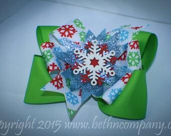 Christmas Snowflake Stacked Hair Bow