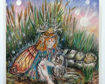 "Art Print of fairy princess playing with frogs called ""Frog Fairy Princess"", wall decor, home living, art and collectables"