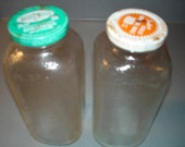 Vintage Glass Orange Juice Bottles 1960 / 8 by 3 by 3 inches / Aqua and Orange / Tropic Trend / Southern Gold