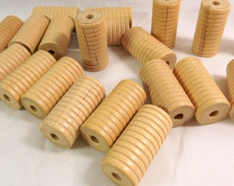 Large Wood Carved, Grooved, Tube Beads Vintage Wooden Macrame, Art Beads 35mm x 18mm NOS