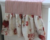 Red Ticking and Norfolk Rose Ruffled Table Runner