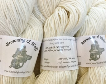 Merino/Nylon SPORT Sock Yarn - Natural White - 100g Skein