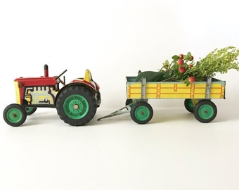Vintage Toy Tractor Trailer Tin Metal Display Piece Farm Equipment