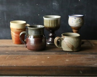 Instant Collection of Ceramic Cups Group of Studio Pottery 3 Mugs and 2 Wine Cups Hand Made Vintage From Nowvintage on Etsy