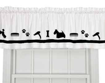 Dog Groomer Grooming Window Valance Curtain - Your Choice of Colors