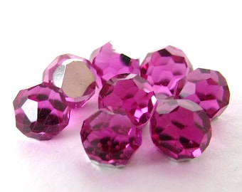 Vintage Crystal Glass Cabochon Fuchsia Swarovski Pink Faceted Disco Ball 6mm swa0664 (8)