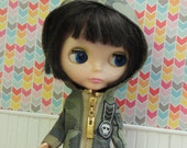 Army Green Camouflage Camo Hooded Jacket for Blythe Doll