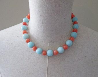 Blue Coral Beaded Necklace, Sky Light Amazonite Jade