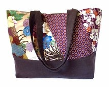 SALE! the honolulu tote bag - patchwork with malt chocolate brown denim, ready to ship mother's day gift