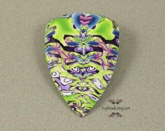 Polymer Clay Cabochon, Handmade, Lime Green, Purple, Denim Blue, Multi-color