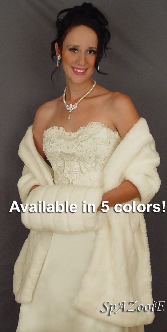 Faux fur mink wrap stole shawl shrug bridal long wedding cover up FW102 AVAILABLE in white, ivory, black, brown, pink