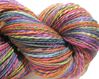 Handspun yarn, Calliope, worsted weight, 2 ply, 338 yards, wool yarn, 2 ply yarn,  knitting supplies, rainbow yarn,  crochet supplies