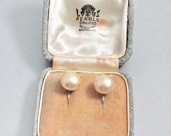 Lotus  Pearl Button Earrings, Sterling Settings, Simulated Pearls, Original Box, Vintage