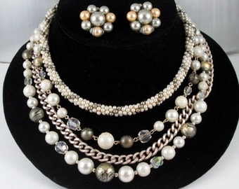White  Multi Strand, Pearl Gold Bead, Necklace,Cluster Earrings, Vintage 1950