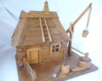 vintage wooden house, hand carved wood house, removable roof, unique storage, vintage primitive art, Folk art, vintage home decor, retro