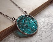 Teal Glass Swirl Necklace Stained Glass Jewelry