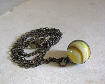 Butterscotch Vintage Glass Marble Pendant One of a Kind Repurposed Jewelry