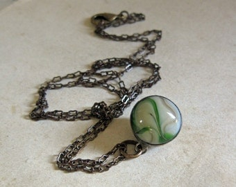 Glass Marble Green Taupe Necklace One of a Kind Repurposed Jewelry