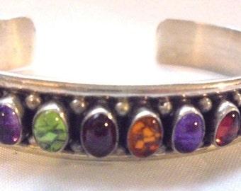 Southwestern Vintage Sterling Silver Semi Precious Stone Cuff Bracelet
