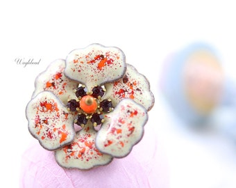 Vintage Multilayer Enamel Flower Siam Swarovski Crystal Rhinestone Czech Bead Red Ivory Orange