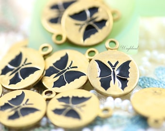 Vintage Style Butterfly Disc Charms Pendants Black - 4