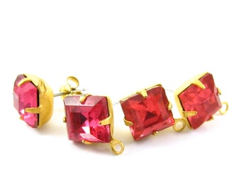 Gold Plated Faceted Rhinestone Glass Stone Earring Posts Loop Ear Studs Earring Finding Square 8x8mm Dark Rose - 2 pcs .
