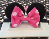 Made to Match Black Minnie Mouse Girls Hot Pink Polka Dots Mouse Ears Stretch Headband