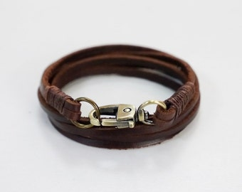 Wrap Leather Bracelet Leather Cuff Bracelet  in Brown Color with Bronze Clasp