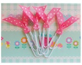 Planner Clips Pink Bookmark Cute Polka Dot Ribbon Clip Life Planner Accessories - 4pc