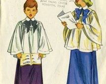 Vintage 50s McCall 1957 Boys and Girls Choir Robe (cotta) and Skirt Sewing Pattern Size Large 12 14
