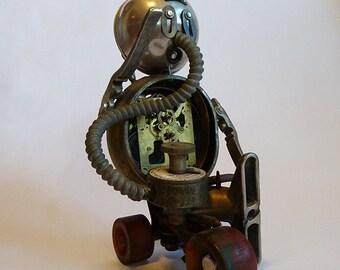 AI Robot spacepunk steampunk skateboard future found object sculpture by Adam John Mulcahy