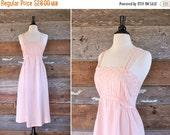 SALE 1970s sun dress / pastel pink empire waist summer dress / size xs