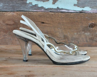 1960s heels / Onex lucite slingback heels w/ gold studs / 1960s shoes / size 7.5 - 8