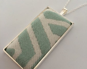 Woven Wings Mint Geo Wrap Memory Pendant and Chain