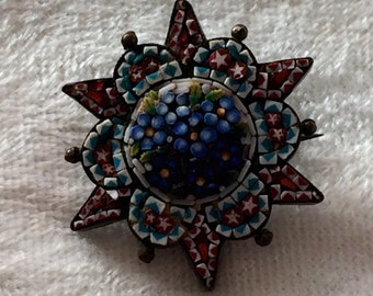 Micro mosaic blue bell brooch - gorgeous antique