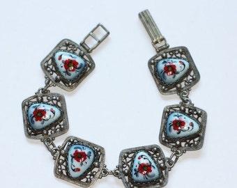 CIJ Sale Red Floral Porcelain Enameled Bracelet Russian Finift Enamel Silver Filigree Vintage