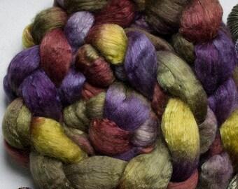 Superwash wool & Tencel Roving, 60/40 - Deep Woods 4 oz.