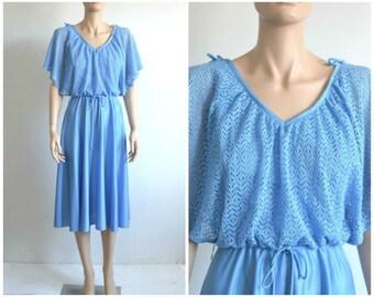Vintage 70s Flutter Lace Dress Disco Dress Crochet Lace Light Blue
