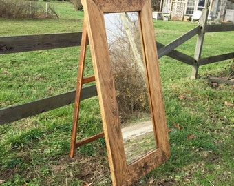 Wood Floor Mirror on Easel & Chain - Standing Bedroom Mirrors - Rustic Decor