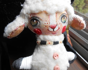Original art doll Sweety Lamb doll  folkart  hand made ,hand painted OOAK by miliaart studio