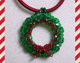 Christmas Wreath Pendant Pdf Tutorial Jewelry Making (INSTANT DOWNLOAD)