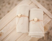 Beige, Tan Stretchy Wrap and Delicate Flower Tieback Set - newborn baby photo prop