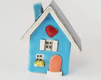 Little Clay House | Ceramic House | Miniature House | Whimsical house | Light Blue House | Fairy House | Clay Cottage