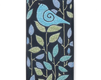 Bird,Ceramic tile,Whimsical, handmade, wall art, home decor 3x6 raku fired art tile
