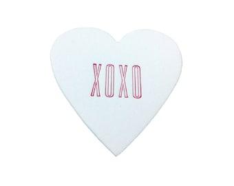 XOXO Mini Heart Note White Cotton with Glassine Sleeve - set of 4