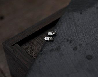 Diamond Slice silver leaf studs