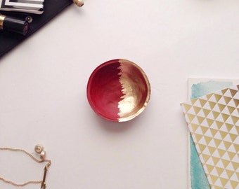 Red and Gold Jewelry Dish/Mini Red and Gold Jewelry Dish
