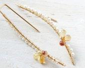 White Pearl Earrings, Orange Yellow Sapphire Earrings, Dainty Classic Modern Jewelry, Bridal Wedding, Gold Filled Long Earrings